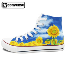 Women Men Converse Chuck Taylor Floral Sunflower Original Design Custom High Top Hand Painted Sneakers Man Woman Shoes Gift