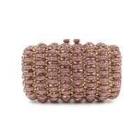 Pink Crystal Clutches Bags With Gold Chain Luxury Designer Pink Evening Clutch Bag For Women Red