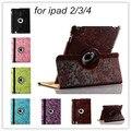Новый горячий продавать виноград цветочным узором pu Кожаный чехол для Apple iPad 2 Кожаные Чехлы Стенд Крышка для Apple iPad 4 3 FreeShipping
