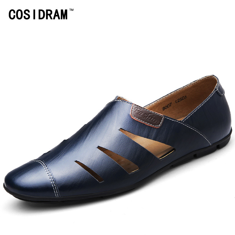 COSIDRAM Breathable Summer Flat Shoes Men Loafers Soft Genuine Leather Casual Shoes For Men Flats Male Moccasins 2017 RMC-033 hot fashion casual men leather shoes loafers flat shoes for male genuine leather breathable men flats lace up moccasin zapatos