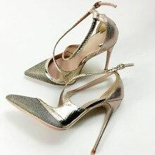 Keshangjia אופנה חדשה מגיע נשים משאבות נעלי מפלגה גברות סופר גבוה הבוהן מחודדת אבזם צלב אופנה גודל גדול 35 44