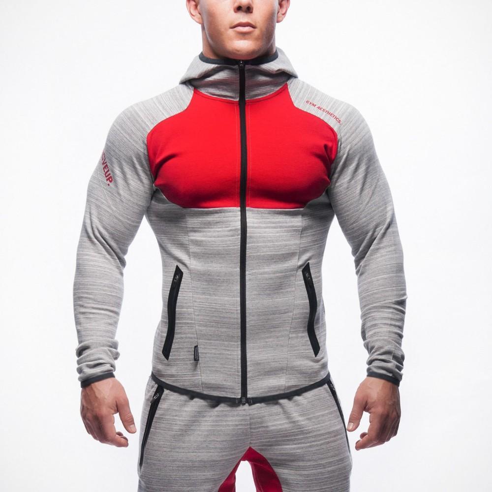 2018 new spring fashion tasca della chiusura lampo degli uomini del progettista casuale giacca con cappuccio cuciture personalizzato giacca grigio scuro grigio chiaro