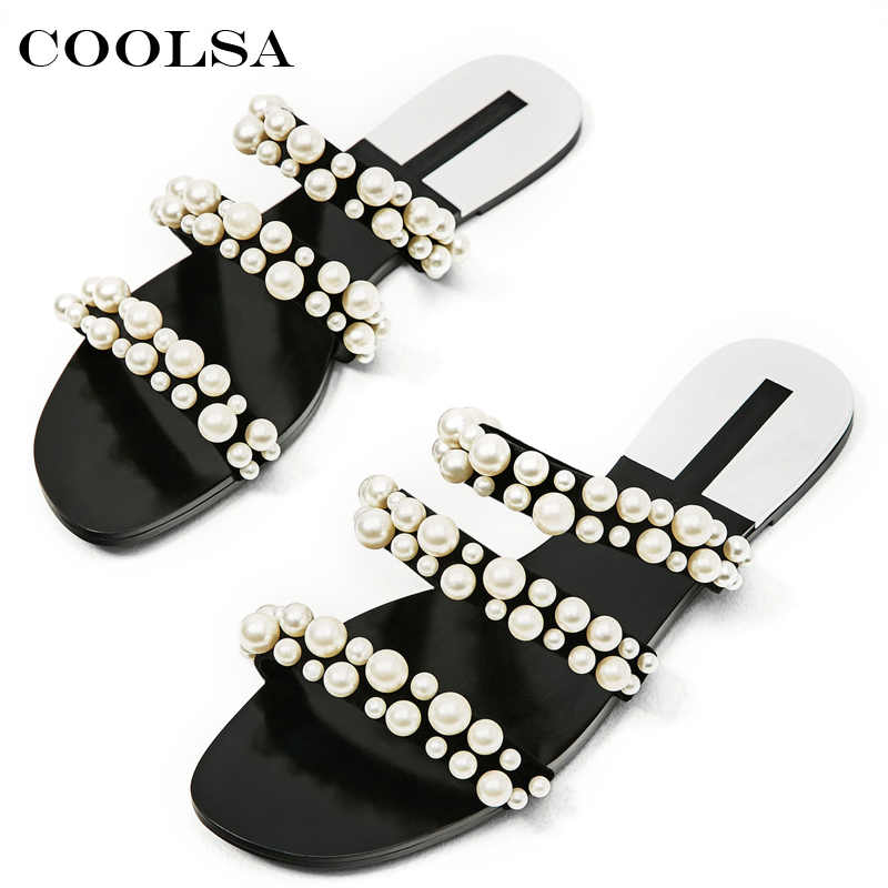 Coolsa Hot Pearl Sandals Women Slippers White Pearls Slides Beads Female Rubber Flat Indoor Flip Flops Girls Casual Beach Shoes