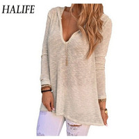 Hip Hop Women Tshirt Casual Long Sleeve Hooded Solid Pullover Loose Sweater Knitwear Hollow Out Sexy