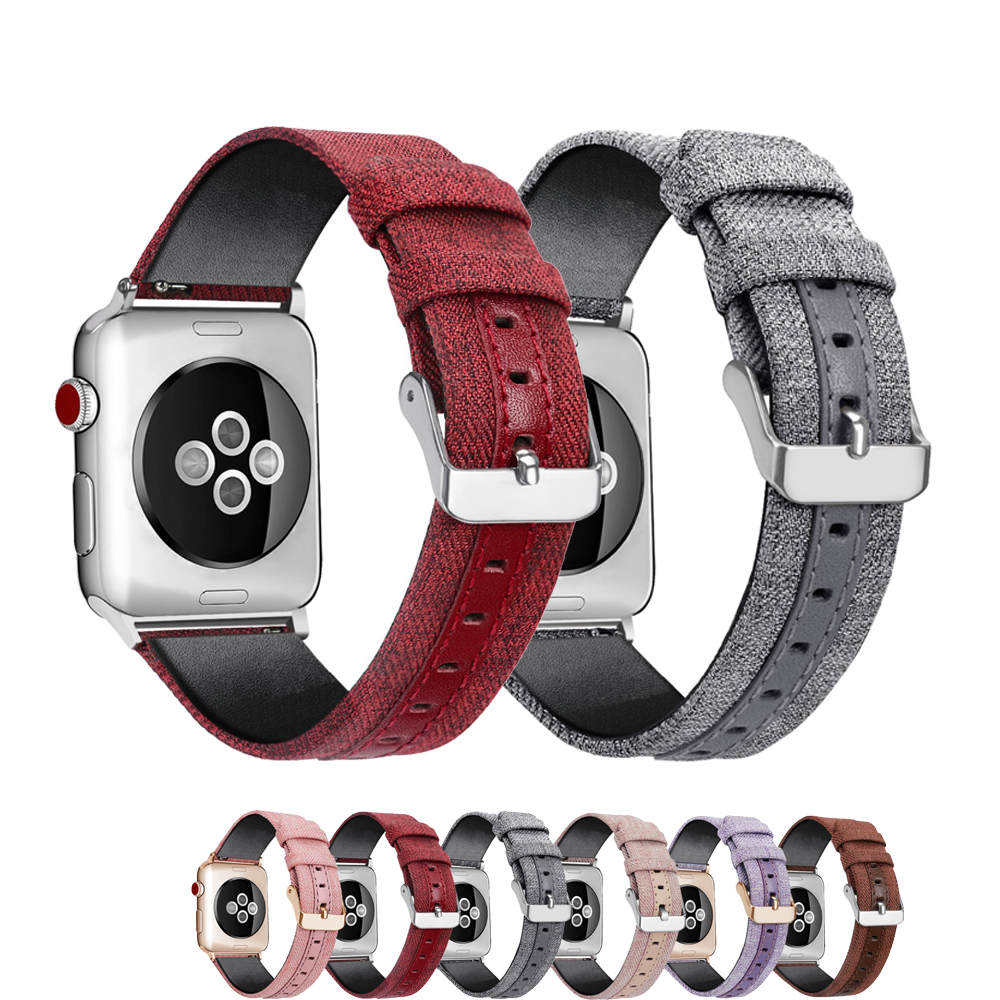 Luxury leather canvas strap For Apple watch band 42mm 38mm Iwatch series 3 2 1 bracelet Wrist belt watchband+metal buckle for apple watch band 4 leather double tour strap 42mm 38mm iwatch series 3 2 1 watchband bracelet wrist belt metal buckle stripe