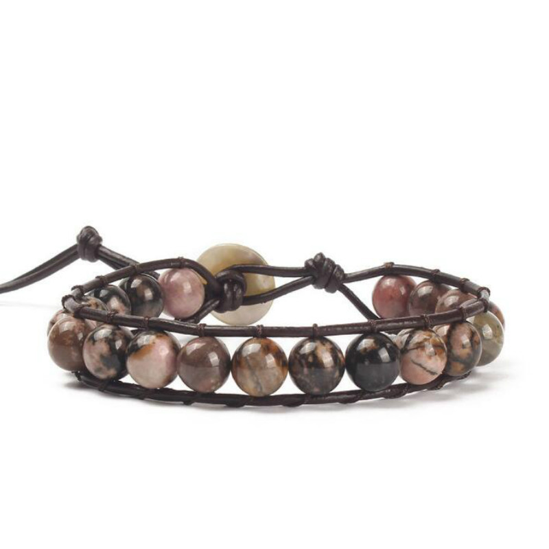 Bohemian Hippie Boho Bracelets Vintage Leather and Natural Stone 1 Layer Strand Handmade Braid Weave Wrap Bracelet for Women in Wrap Bracelets from Jewelry Accessories