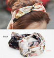 Flores retro mulheres turbante torcida atada impressão geométrica larga faixa headband acessórios para o cabelo menina faixa de cabelo yoga feminino