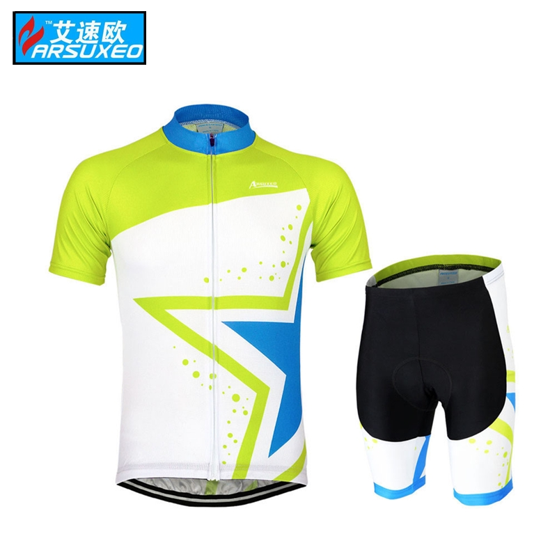 ARSUXEO Mens ropa ciclismo motocross Cycling Short Sleeves MTB Jersey Bike Bicycle Star  ...