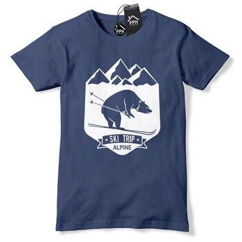 Bear Ski Trip Skiing T Shirt Mens Womens Ski Layer Snowboard Tshirt Skiing 498