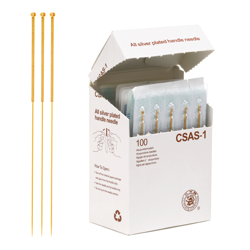 Sterile acupuncture needles full gold plated  needles 100 pieces /each box.single retainer .very beautiful golden colour.