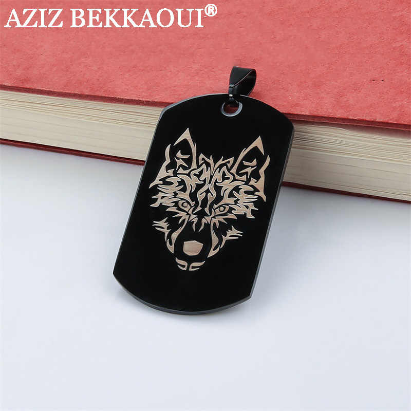 Personalized Logo Dog Tag Pendant Necklaces Stainless Steel Military Army ID Tag Necklace Black/Blue/Gold/Rose-gold Color
