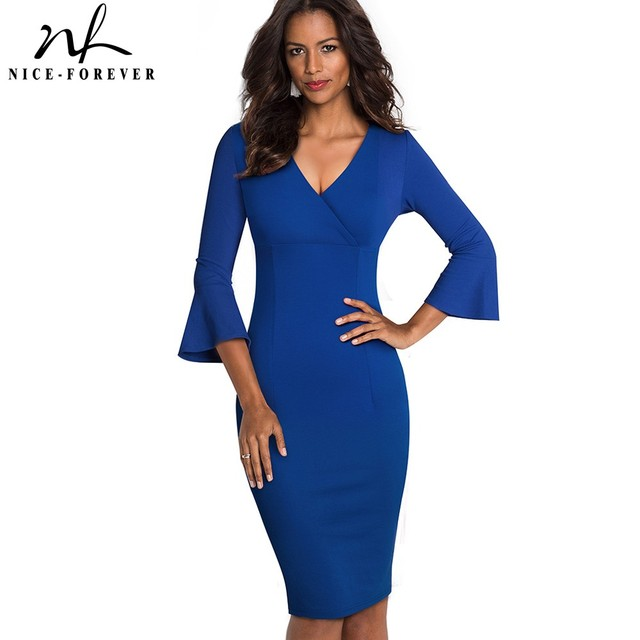 Nice forever Elegant Pure color Sexy V neck vestidos Business Party Bodycon Vintage Women Sheath Dress B541