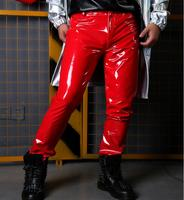 Men Red Patent Leather Pant Custom Made Male Fashion Singer Dancer Hip Hop Style Slim Fit Trousers Stage Show Costumes M 2XL