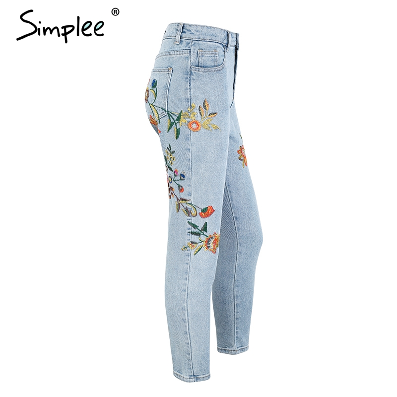 4ee8d19bc48c5 Floral embroidery women jeans pants Casual high waist jeans femme ...