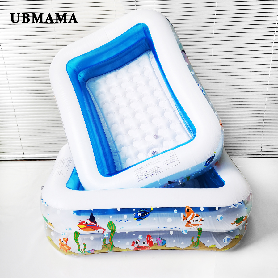 Double Layer Plastic Inflatable Square Print Underwater World Pattern Children's Ocean Pool  Baby Swimming Pool