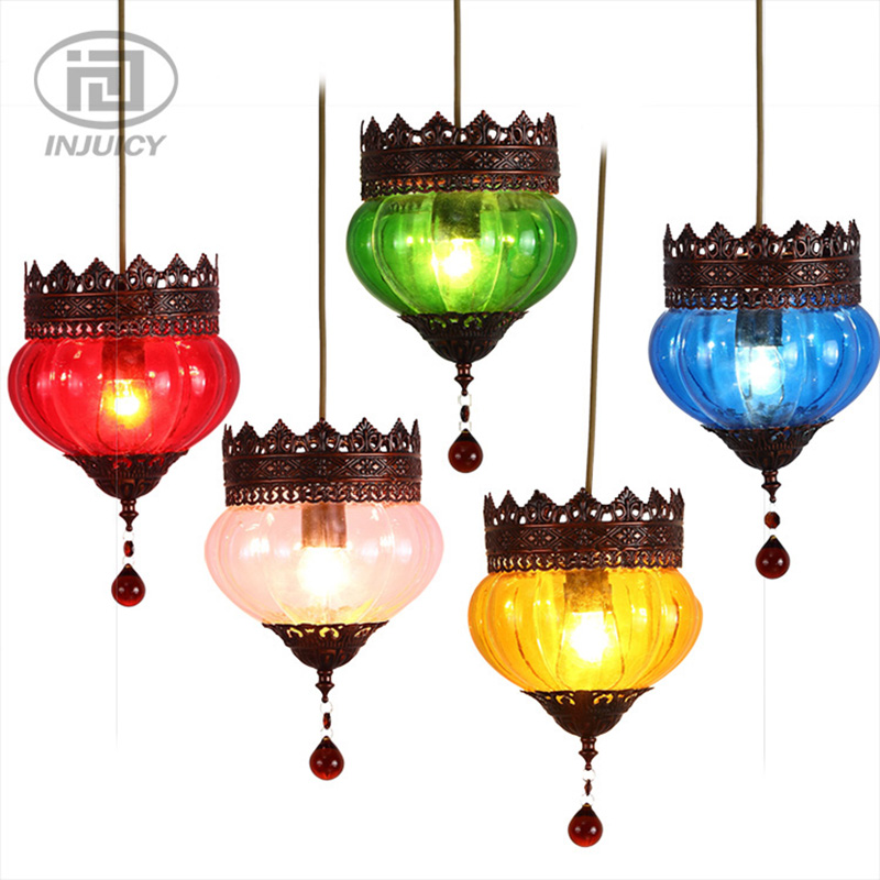 Mediterranean Style LED Pendant Lights Vintage Bohemia Colourful Glass Ceiling Lamp For Coffee Bar Lighting Fixture