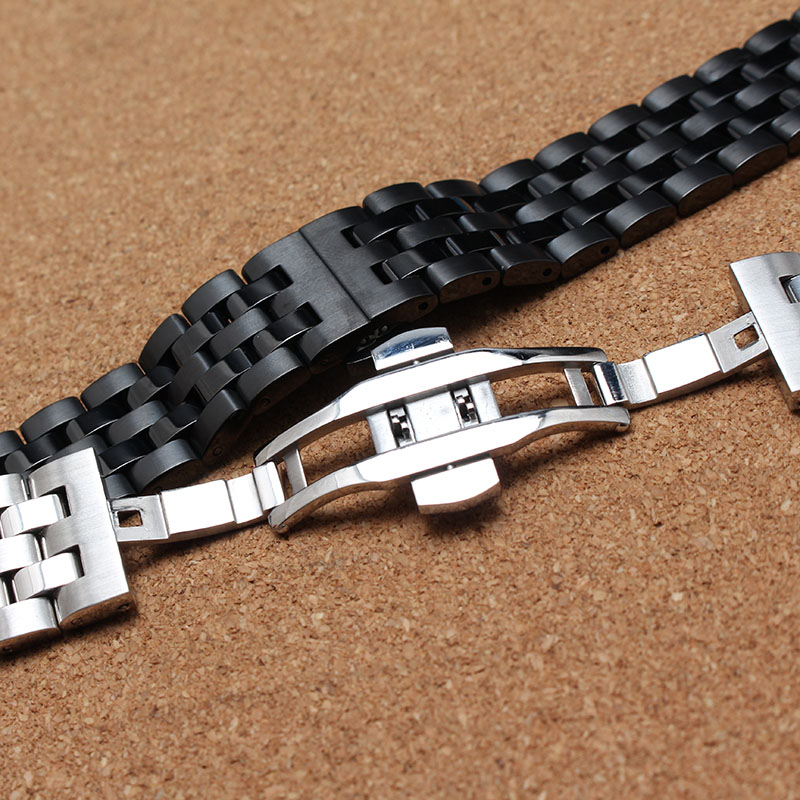 Metal Black and silver watchband for watch smart accessories 20mm 22mm high quality stainless steel metal