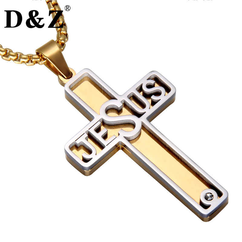 D&Z Gold Color Two Tone Jesus Cross Necklace Stainless Steel Christian Crucifix Pendants & Necklaces for Christian Jewelry