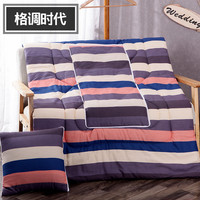 European Brown Stripes Pattern Square Soft Bolster Blanket Two Uses Cushion Good Quality Pillow Summer Quilt