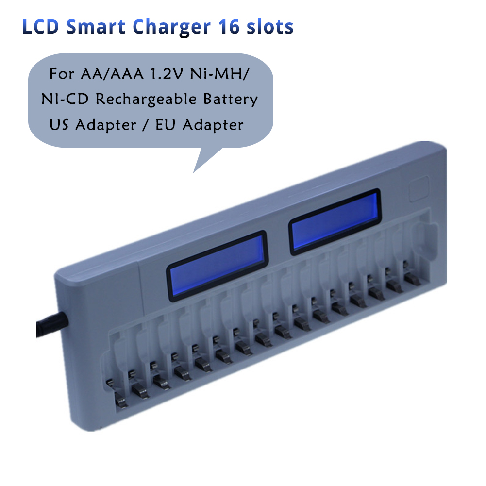 16 Slots LCD Display Smart AA/AAA 5/7 1.2V Ni-MH NI-CD Rechargeable Battery 16 Battery Intelligent Charger