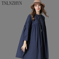 TNLNZHYN 2017 Spring Women Dress Casual Shirt Fashion Loose Dress Women Solid Color Shirt Plus Size
