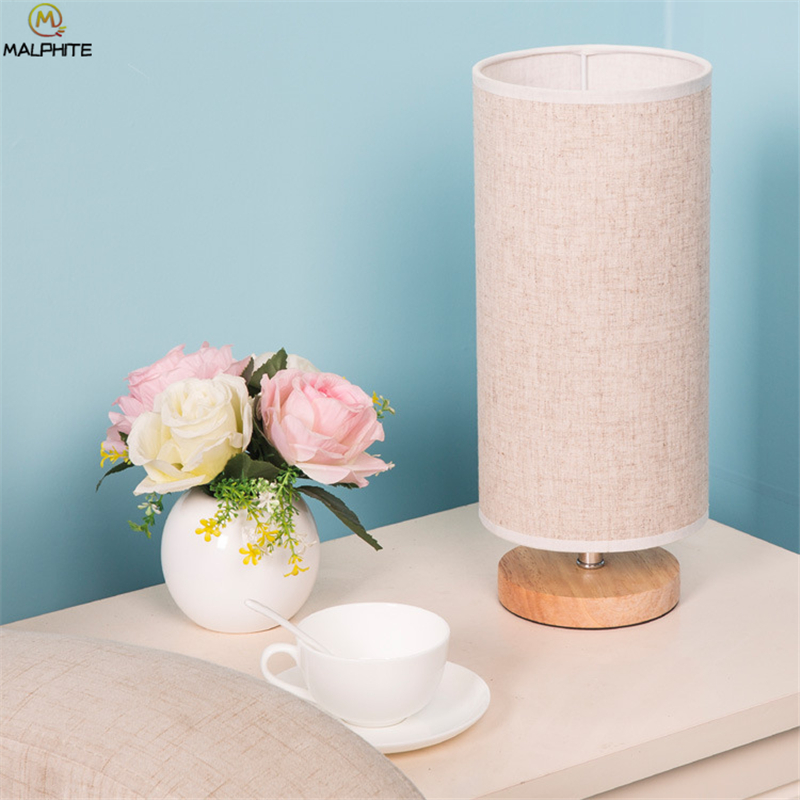 Modern Fabric Table Lamp Simple Round Lamps Table Circular Solid Wood Bedroom Bedside Table Light LED Lighting Decor Fixtures in LED Table Lamps from Lights Lighting