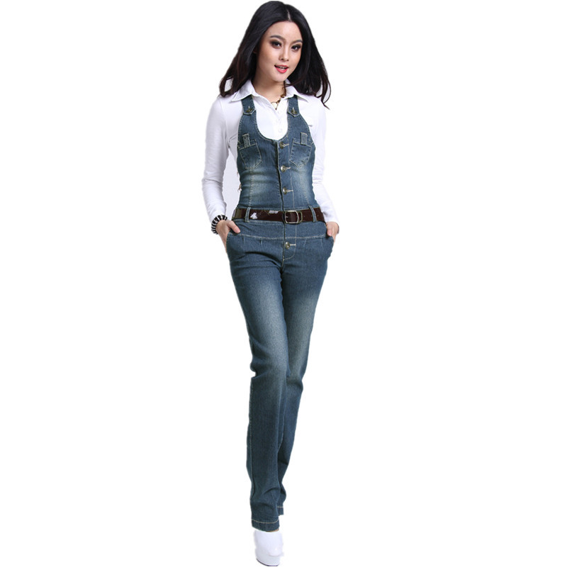 Free Shipping 2013 Denim Jumpsuit And Rompers For Women Jeans Pants Ol Straight Trousers Overalls Plus