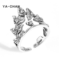 YA-CHAN 925 Sterling Silver Rings Retro Leaves Ring Retro Spring Triangle Adjustable Opening Rings Jewelry For Women Girl Gift