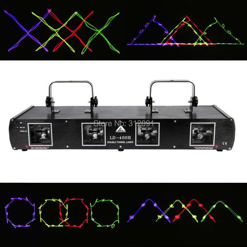 (Ship from AU) Professional Light Effect 760mw 4 Beam 4 lens Laser Light RGYB Stage Concert DJ Club Party Lighting DMX512 rg mini 3 lens 24 patterns led laser projector stage lighting effect 3w blue for dj disco party club laser