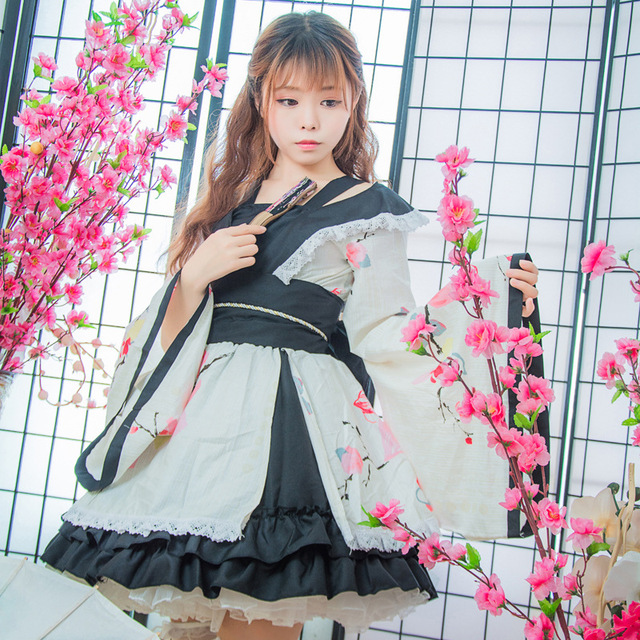 SEEDRULIA  Anime Cosplay Lolita Halloween Fancy Dress Japanese Kimono Lovely Cos Dress