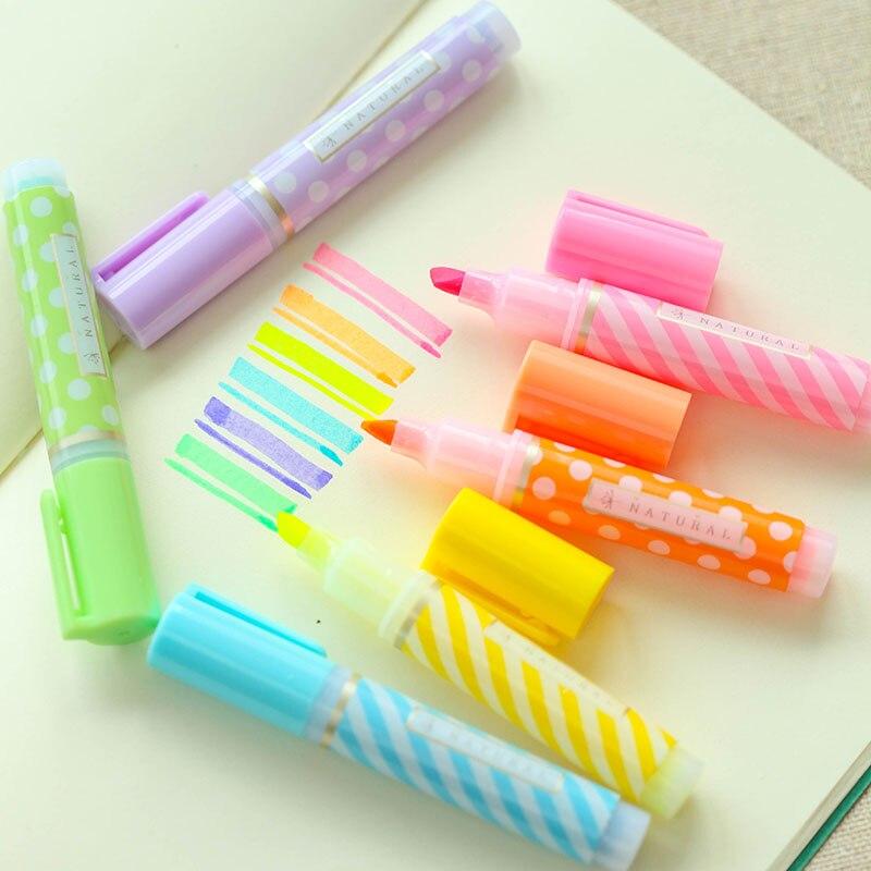Y18 sada 6 roztomilý mini tečky pruhovaný zvýrazňovač malování značkovač pero kreslení tekuté křídy papírnictví školní kancelář dodávky děti dárek
