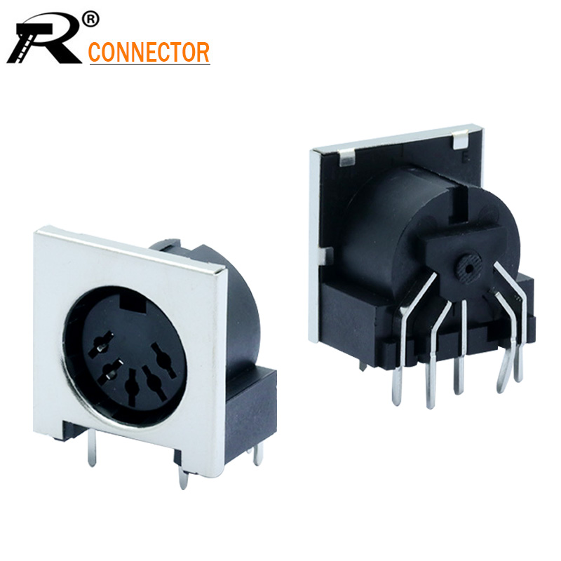 3pcs DIN Connector 5 Pin DIN Female Jack Right Angle Panel Mount 90 Degree 5 Pin Female DIN Adapter Solder Type Jack Chassis