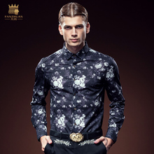 Free Shipping New Man's party 2016 autumn male fashion casual long-sleeve slim DP printed shirt floral Metrosexual 2094 on sale