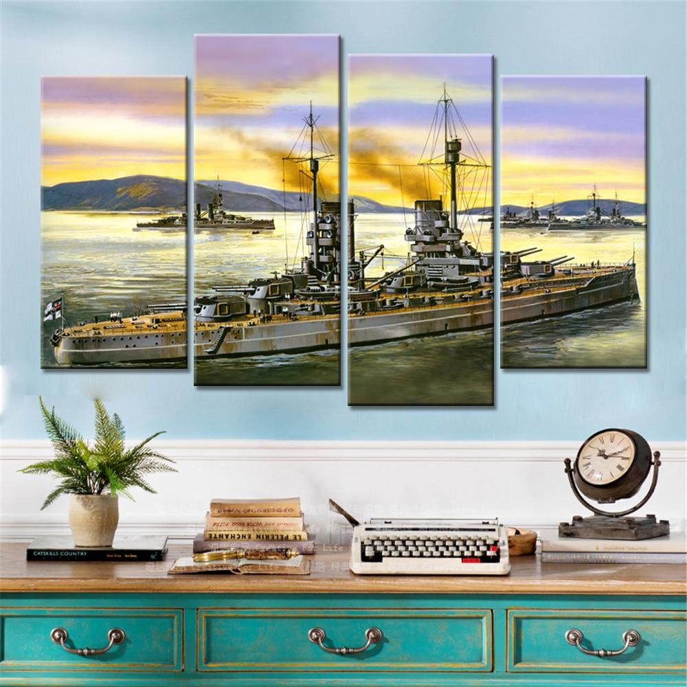 online get cheap battleship paintings aliexpress com alibaba group drop shipping 4 pieces seaview cruiser battleship decorative picture for living room wall art canvas home decor frameless