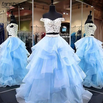 2019 ball gown Quinceanera Dresses Two Piece Appliqued Lace Ruffles V Neck Tulle Masquerade Party Gowns Quinceanera gown