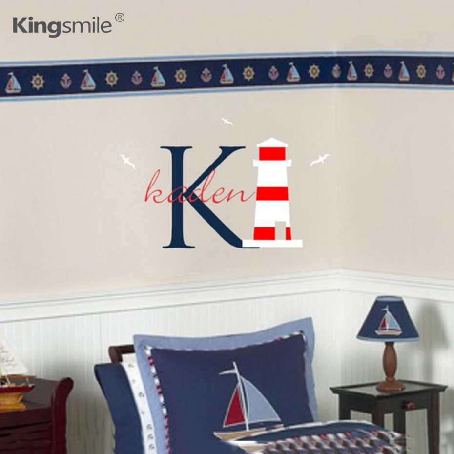 popular lighthouse wall mural buy cheap lighthouse wall mural lots cartoon nautical lighthouse custom names wall stickers decal mural wall vinyl sticker name for boy girl
