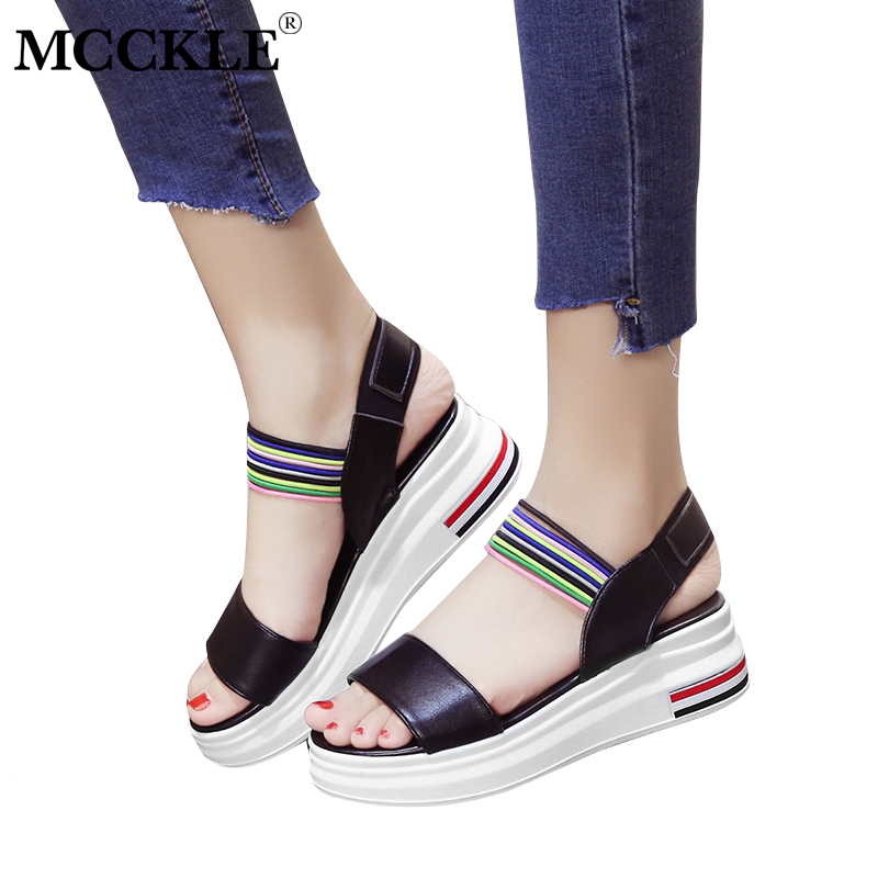 MCCKLE Summer Women Wedge Platform Sandals Fashion Female Ankle Wrap Colorful Elastic Band Party Dress Shoes Soft Comfortable цена