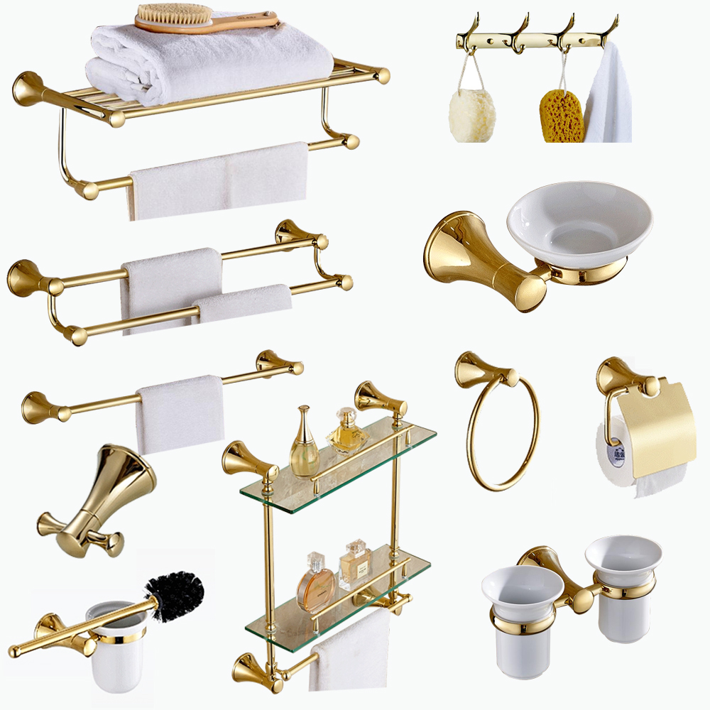 European Bath Hardware Sets Polished Gold Stainless Steel Wall Mount Toilet Brush Holder Towel Holder Bathroom Shelf Accessories
