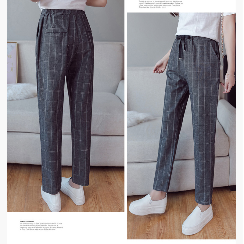 Make English plaid pants female easy to restore ancient ways recreational pants the spring and autumn period and the new female 3
