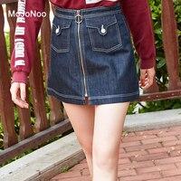 MOJONOO Korean Big Size Mini Jeans Skirt High Waist Cotton Denim Skirts For Women 2018 Spring