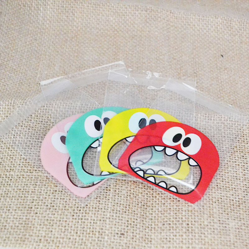 50Pcs/lot 7*7cm Cute Monster Sharp Teeth Self-adhesive Gift Bags Wedding Birthday Party Cookie Packaging For Biscuits Candy