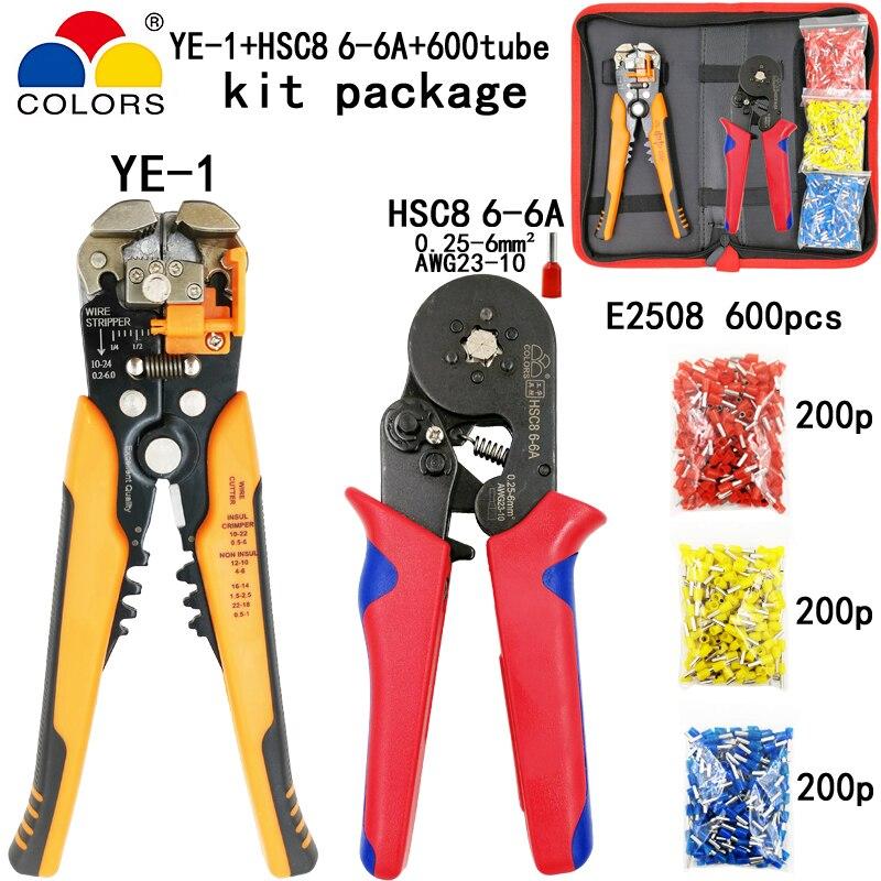 Werkzeuge KüHn Kit Abisolieren Schneiden Draht Crimpen Zangen Y1 Anzug Werkzeuge Hsc8 6-6a 0,25-6mm2 Zangen Rot Hand Rohr Terminals 600 Stücke E2508 Werkzeuge Erfrischung