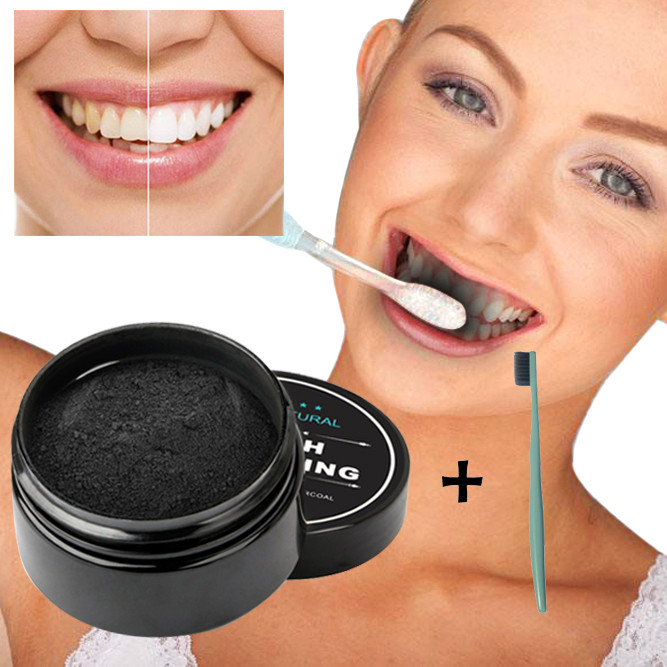 Dropshipping New  Whitening Powder Natural  Activated  Bamboo Toothpaste Tool with Tooth Brush 1 Set Teeth Massager