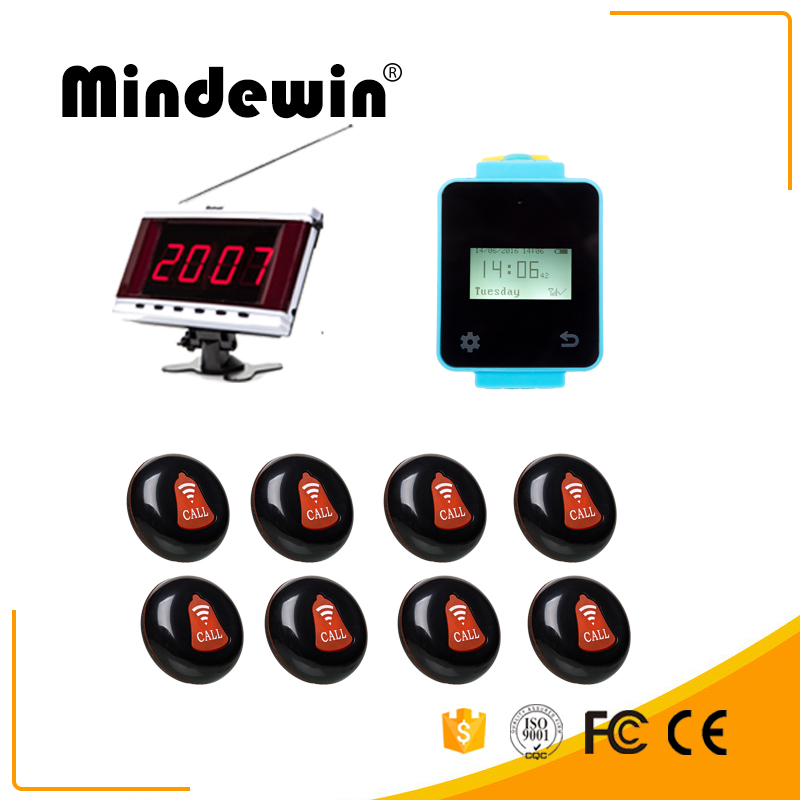 Mindewin Wireless Multi-funcation Calling System Touch Screen Wireless Wrist Watch Pager LED Display And Alarm Button Quecing wireless service calling system paging system for hospital welfare center 1 table button and 1 pc of wrist watch receiver