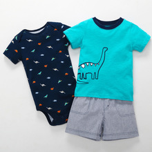 Baby Boy Clothes 3pcs/Set Print Cotton Baby Clothing Fashion Baby Rompers with Short Pants and T-shirt for Newborn Bebes newborn denim single breasted 3pcs set coat t shirt jeans bebes baby boy newborn baby clothes full sleeve baby boy clothes