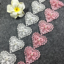 13Yds Pink Black White Lace Trim DIY Embroidery Heart Applique Kids Dresses Home Textiles Decoration Sewing Accessories
