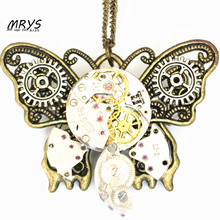 steampunk gothic butterfly wings mechanical watch parts gears brooch pins pendant chain charm men women girl vintage jewelry diy