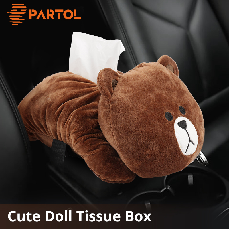 Partol Plush Armrest Car Tissue Box Car Sun Visor Tissue Paper Holder Cartoon Auto Seat Back Hanging Paper Napkin Container Home partol removable car tissue box car sun visor tissue paper holder cartoon auto seat back armrest hanging paper napkin container