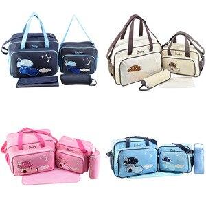 4 Pcs Set Baby Diaper Bag Children's Handbags Bag For Strollers For Mom Large Capacity Travel Nursing Maternity Handbag