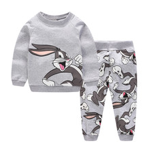 Children Winter Clothes Baby Boys Cartoon Clothing Sets Cute Rabbit Printed Warm Sweatsets for Baby Boys Girls Kids Clothes 2018 autumn winter baby boy clothes girls bear owl pattern kids cartoon sweaters boys clothing girls clothing thick warm